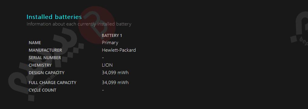 مشخصات باتری