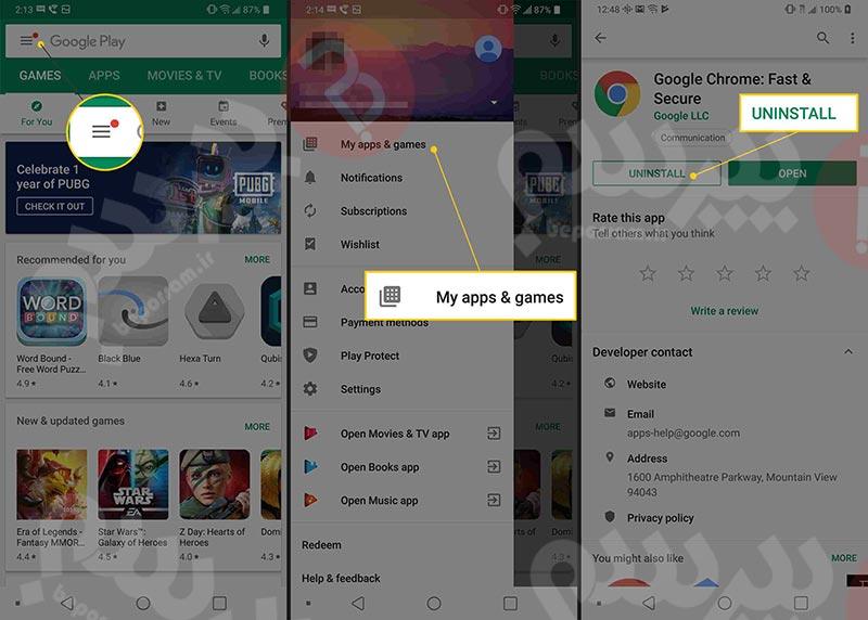حذف از طریق Google Play
